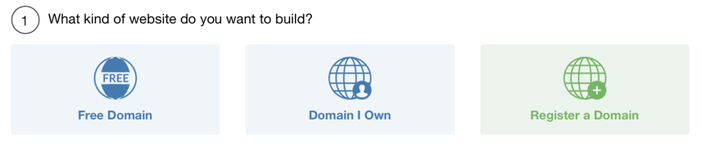 Three worlds with choices: build a Free Domain, a Domain you own or you can register a Domain