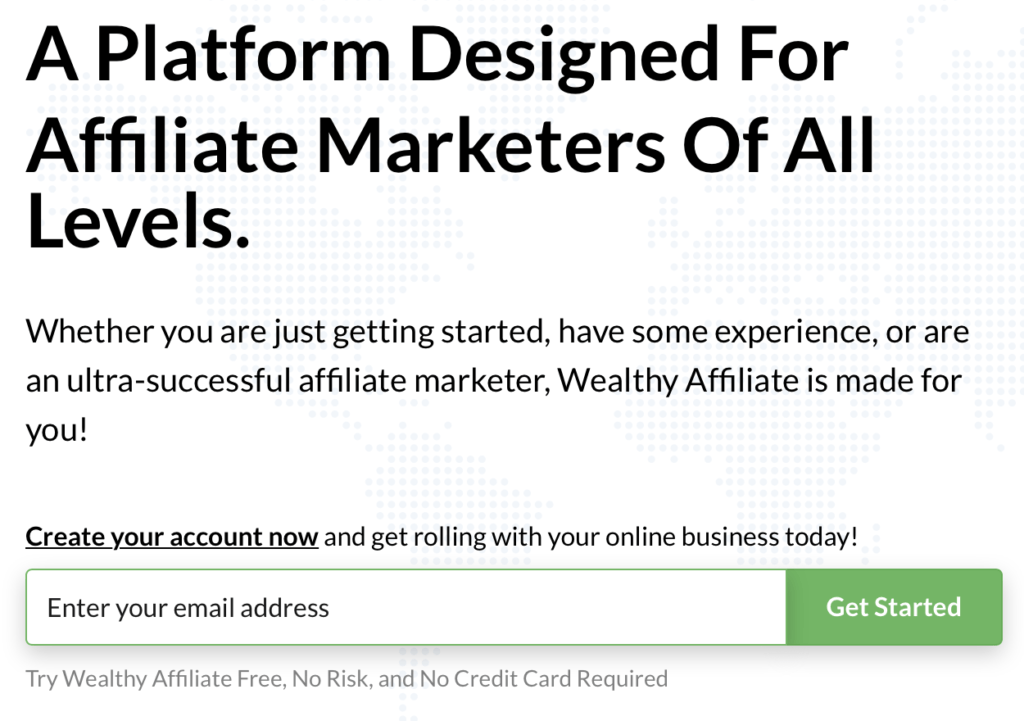 Wealthy Affiliate platform designed for all affiliate marketers of all levels.