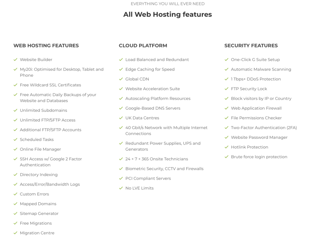 Everything you will ever need. All Web Hosting Features that you need: Web hosting features, cloud platform and security features.