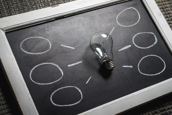 Black board with a light bulb in the centre. From this light bulb are dashes and circles written in chalk.